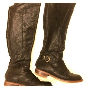 Leather upper tall over knee black boots